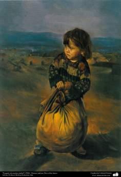 """""""Un pequeño de nuestra ciudad"""" (1998) - Pintura realista; Óleo sobre lienzo- Artista: Profesor Morteza Katuzian, Irán"""