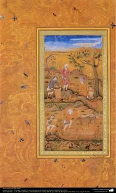 """اسلامی فن - """"مرقع گلشن"""" نام کی مختلف فنون کی تاریخی کتاب سے ایک مینیاتور پینٹنگ (تصویرچہ)، """"دیہات کا منظر"""" - سن ۱۶۰۵ء"""