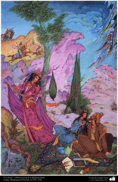 """Arte islamica-Capolavoro di miniatura persiana-""""Festa""""-Opera di Muhammad Ali Zavie-1970"""
