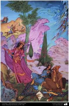 """Una fiesta"" - Obras maestras de la Miniatura persa- Artista: Mohammad Ali Zawieh, en 1970"