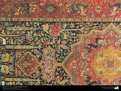 هنر اسلامی - صنایع دستی - هنر نساجی قالی - بخشی از فرش فارسی - ایران ، اواخر قرن شانزدهم