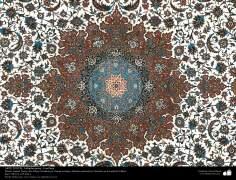 Une partie du tapis persan faite à la ville d'Ispahan - l'Iran en 1951