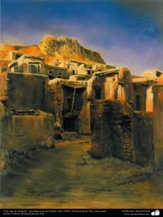 """""""Una vista de Abianeh"""" –una aldea cerca de Kashan, Irán, (1986) - Pintura realista; Óleo sobre papel, Morteza Katuzian"""