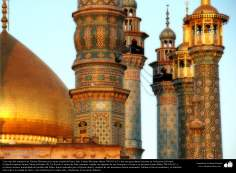 Islamic Architechture/Design in Gold of the Minarets and Dome in Fatima Masumah's Holy Shrine