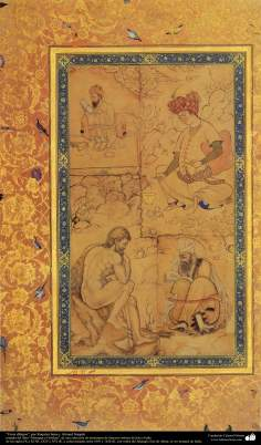 """اسلامی فن - """"مرقع گلشن"""" نام کی مختلف فنون کی تاریخی کتاب سے ایک مینیاتور پینٹنگ (تصویرچہ)، """"رقیہ بانو اور احمد نقاش"""" - سن ۱۶۰۵ء"""