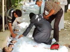 Les victimes d'armes chimiques en Syrie