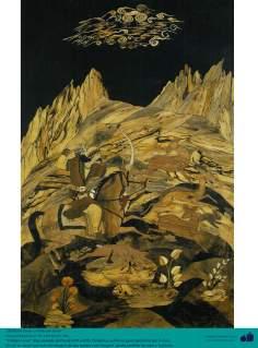 Исламское искусство - Ремесло - Моарраг Кари (маркетри) - Бахрам Гур один из персонажей Шахнаме Фирдоуси