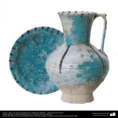 Vasija  y plato  con motivos geométricos; Afghanistan, Bamian –  finales del siglo XII dC.