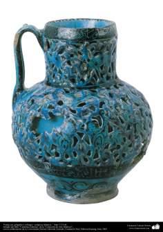 هنر اسلامی - سفال وسرامیک اسلامی - پارچ سفالی خوشنویسی شده - ایران - 1215 - 4