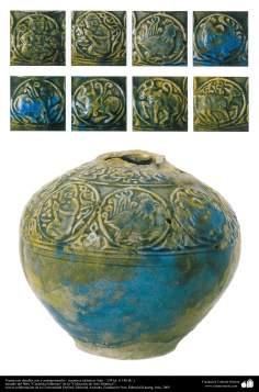 Vasija con detalles zoo y antropomorfos– cerámica islámica- Irán – 534 hs. (1140 dC.)