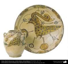 Plat à décor d'oiseaux. La poterie islamique. Iran, Mazandaran- dixième siècle de notre ère.