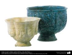 Art islamique - la poterie et la céramique islamiques - Deux bols de différentes formes en relief -XVIIe siècle -101