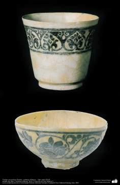Art islamique - la poterie et la céramique islamiques - Deux bols avec des motifs de fleurs et de plantes -Iran-XII AD