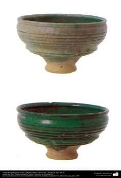 イスラム美術 - イスラム陶器やセラミックス -緑色のアンティークボール - イラン - 45