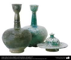 Vasijas verdes con relieve caligráfico- cerámica islámica –  Irán- siglo XII dC.