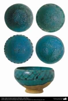 Art islamique - la poterie et la céramique islamiques - Bols turquoises avec des motifs- Afghanistan,XIIIe siècle.16