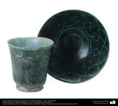 Vaso y plato con relieves geométricos– cerámica islámica –  Irán- siglo XII dC.