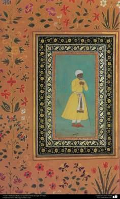 """Arte islamica-Capolavoro di miniatura persiana-""""Antico""""-Prima metà del XVII secolo-Dal libro Muraqqa di India ed Iran"""