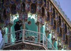 Vista exterior de la naqqar-jâné, Retumban los timbales y trompetas persas, Santuario del Imam Rida en Mashhad