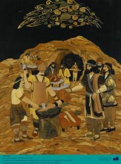 Arte islamica-Artigianato-Intarsio persiano-Giamshid un personaggio delle poesie epiche di Shahname di Ferdosi,poeta iraniano