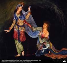 Yo soy un amante presenciado por mi corazón roto.No hay prueba para este corazón destrozado, 1950  Obras maestras de la miniatura persa, Artista: Profesor Mahmud Farshchian