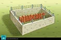 Caricatura - A democracia encarcerada