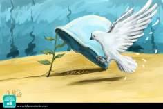 Entre la paz y la guerra (Caricatura)