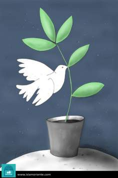 Hope, peace and freedom (Caricature)