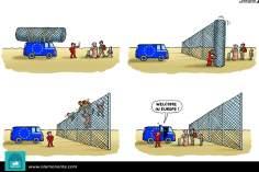 Европейские границы для беженцев (карикатура)
