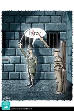 Fire vs. Freedom (Caricature)