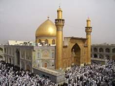 O Santuário do Imam Ali (A paz esteja com ele) na cidade Sagrada de Najaf, Iraque