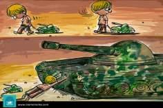 Caricatura - Infância vs guerra