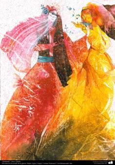 """""""Solicitud"""" - tinta y guache-De la galería """"Mujer, Agua y Espejo"""";Pintora F. Gol Mohammadi"""