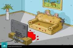 Caricatura - violência televisiva