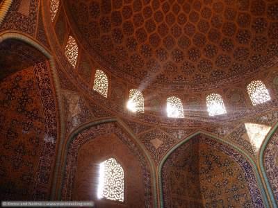 Arquitectura islámica- Vista interna de la cúpula de la mezquita Sheij Lotf Allah (o Lotfollah)-Isfahán- Irán (1)