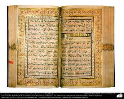 La caligrafía y ornamentación antigua del Corán; Norte de India, entre 1650 y 1730 dC.