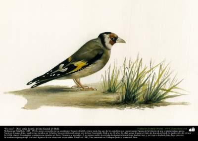 "Pintura ""Un ave"" - Óleo sobre lienzo; artista Kamal ol-Molk (12)"