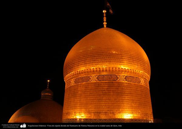 Arquitectura Islámica- Vista de cúpula dorada del Santuario de Fátima Masuma en la ciudad santa de Qom, Irán (12)