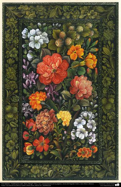 "Arte Islámico-Tazhib persa estilo ""Gol-o Morgh"" -Flor y ave- 10"