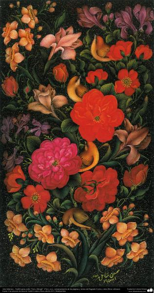 "Arte Islámico-Tazhib persa estilo ""Gol-o Morgh"" -Flor y ave- 7"