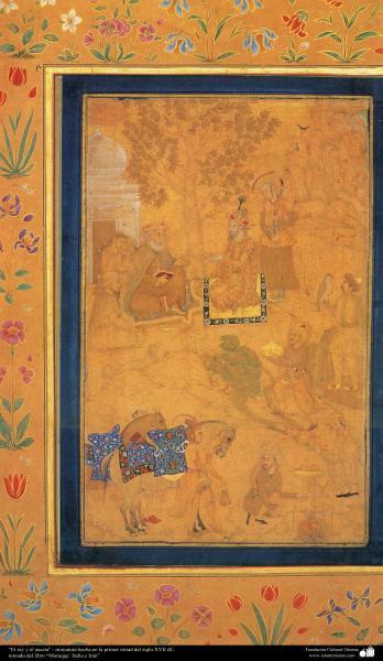 """""""El rey y el asceta"""" - miniatura hecha en la primer mitad del siglo XVII dC."""