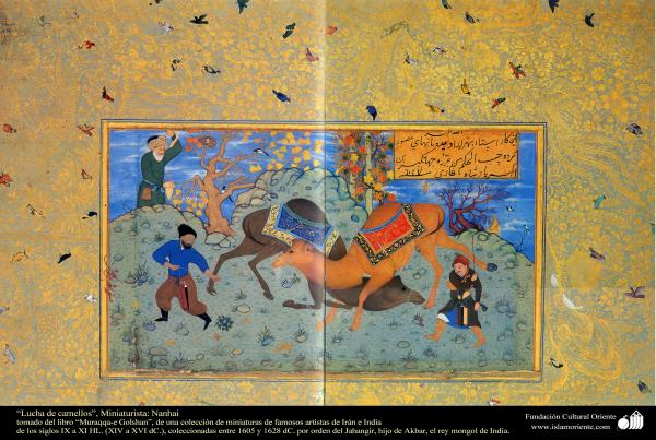 """Lucha de camellos"", Miniaturista: Nanhai, tomado del libro ""Muraqqa-e Golshan"""