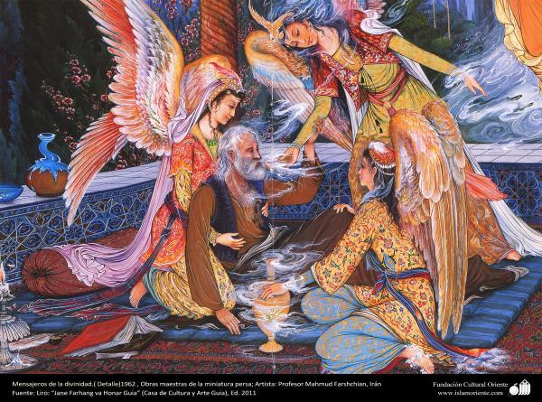 Mensajeros de la divinidad.( Detalle)1962 , Obras maestras de la miniatura persa; Artista Profesor Mahmud Farshchian, Irán