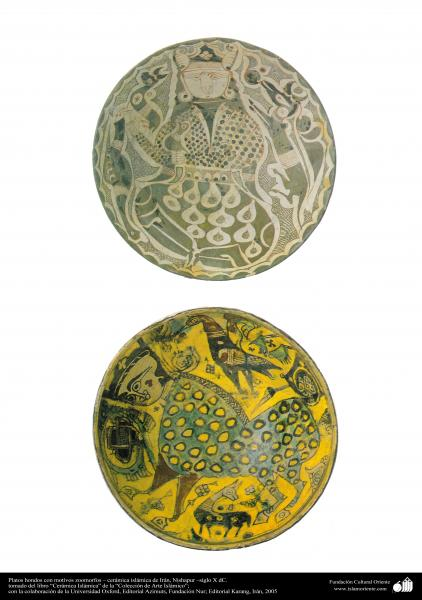 Platos hondos con motivos zoomorfos –cerámica islámica de Irán, Nishapur –siglo X dC.