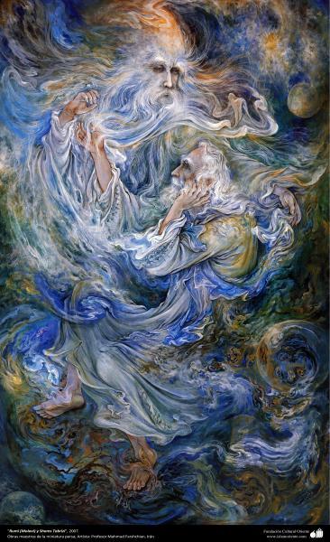 """""""Rumí (Molavi) y Shams Tabrizi"""", 2007, Obras maestras de la miniatura persa; por Profesor Mahmud Farshchian"""