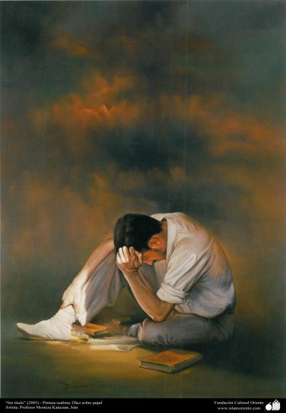 """Sin título"" (2003) - Pintura realista; Óleo sobre papel, Artista: Profesor Morteza Katuzian (6)"