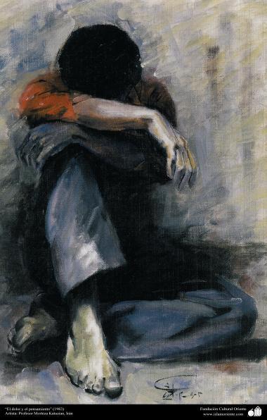 """Arte islamica-Pittura-Olio su tela-Opera di maestro Morteza Katusian-""""Il dolore e il pensiero""""-1983"""