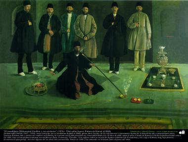 الفن الإسلامي - الرسم  - زيت على لوحة - تأثير كمال الملك - رئيس الوزراء محمد إبراهيم ومساعدين - 1876