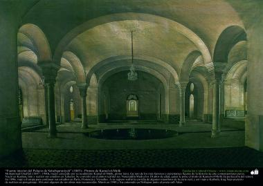 """""""Fonte no interior do Palácio de Sahebqaraniyeh"""" (1885) - Pintura de Kamal ol-Molk"""