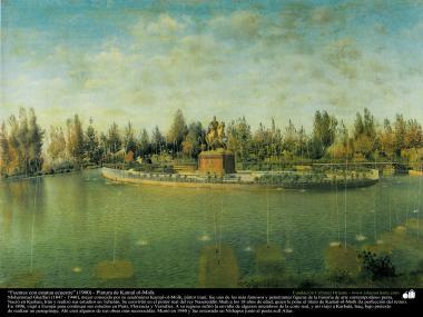 الفن الاسلامی - الرسم - الزیت على القطن  - تأثير كمال الملك - تمثال على ظهور الخيل - 1900